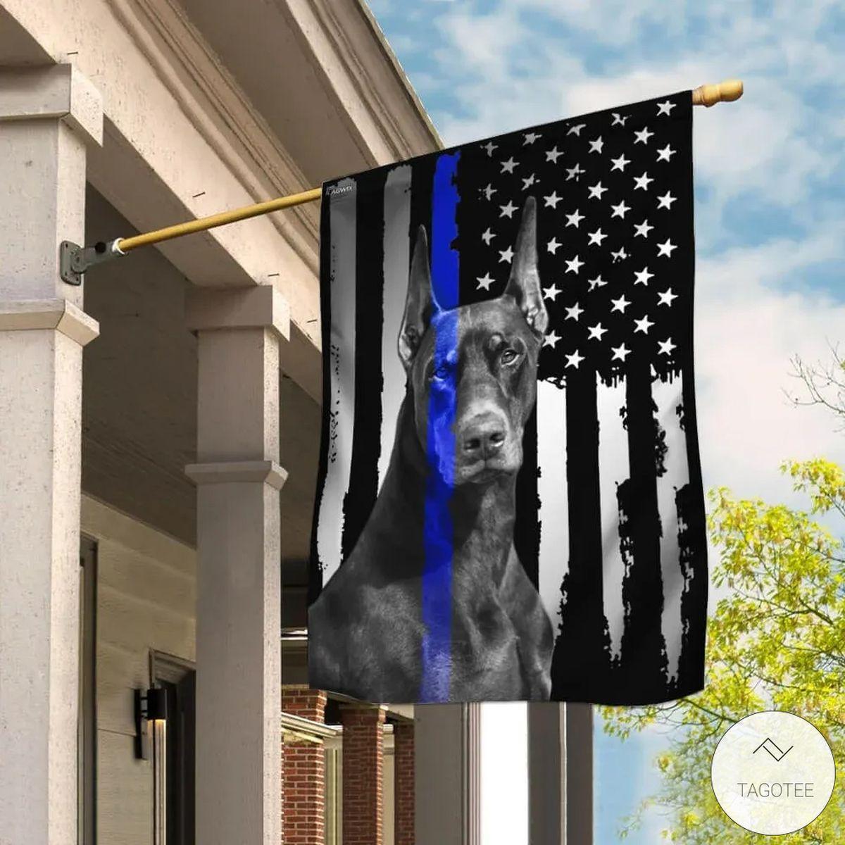 Doberman Pinscher The Thin Blue Line Flag