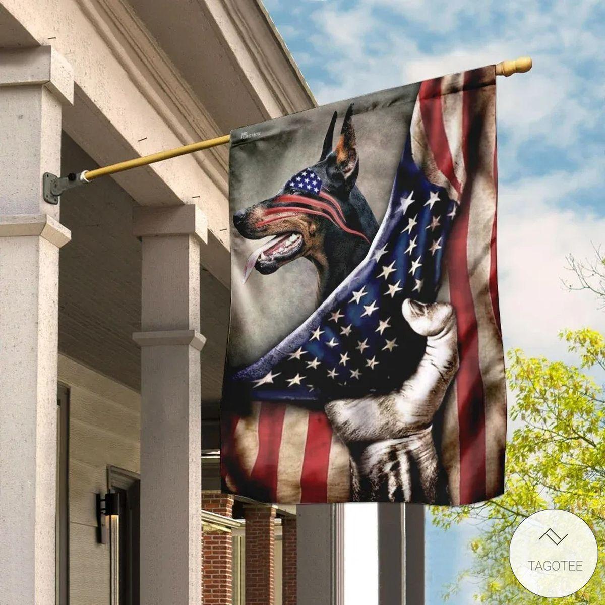 Doberman Pinscher US Flag