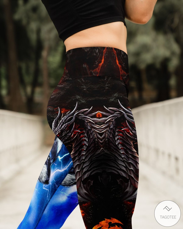 Dragon and Wolf Fire and Thunder High Waist Leggingsz