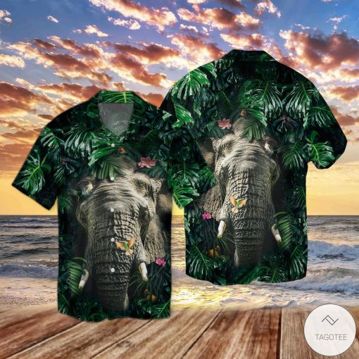 Elephant Hiding Tropical Hawaiian Shirt
