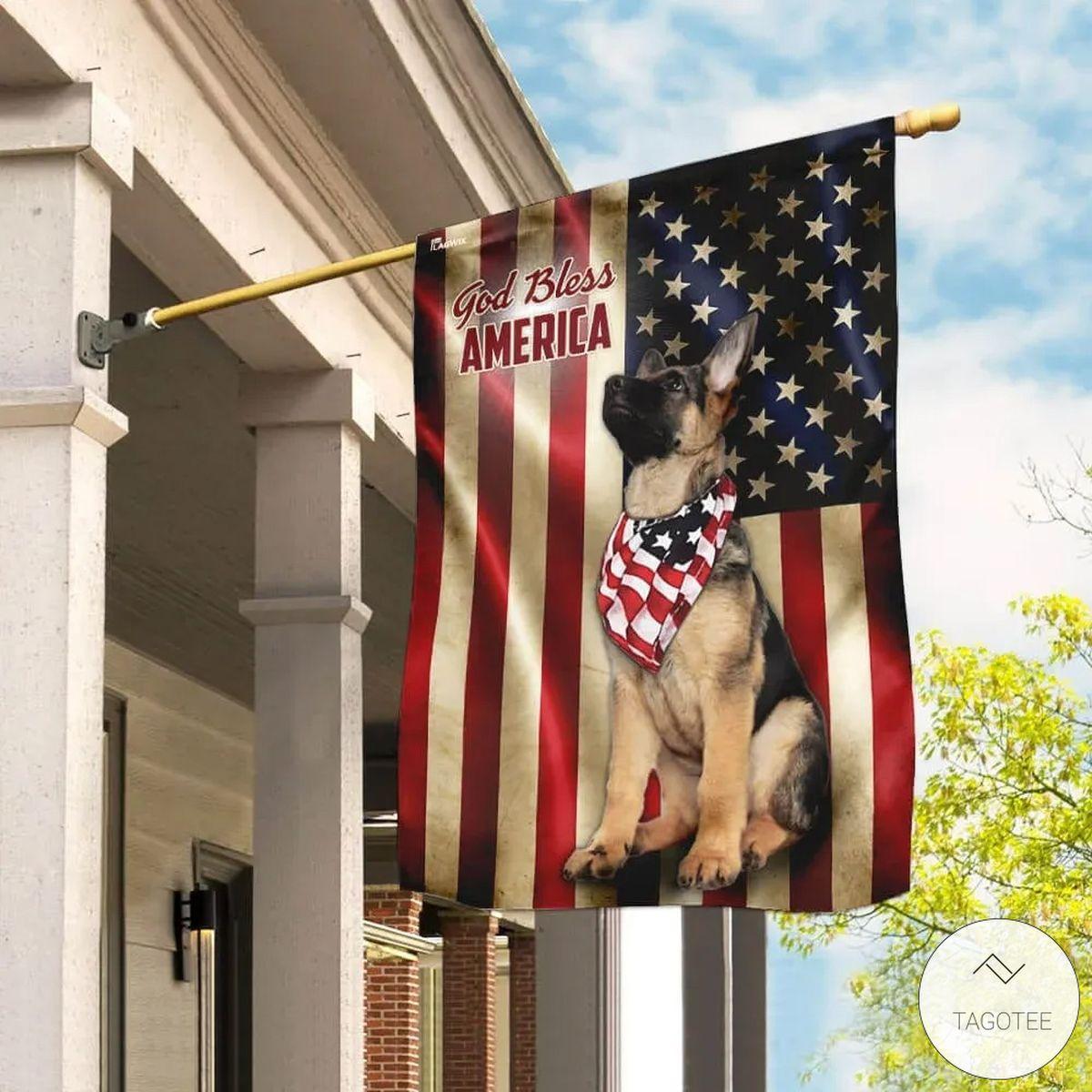German Shepherd God Bless America Flag