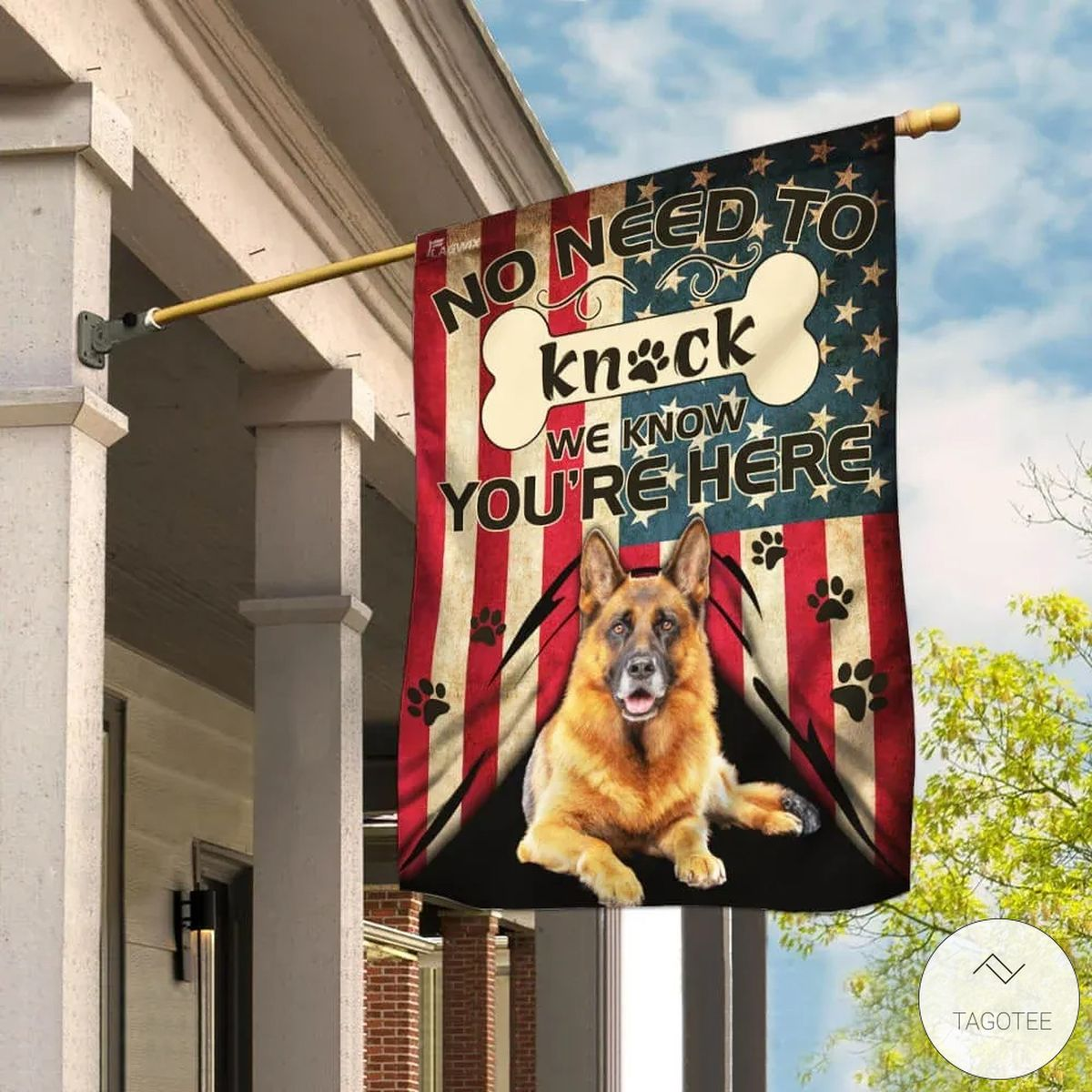 German Shepherd No Need To Knock We Know You Are Here Flag