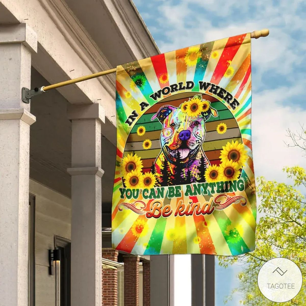 In A World Where You Can Be Anything Be Kind Hippie Peace Pitbull Flag
