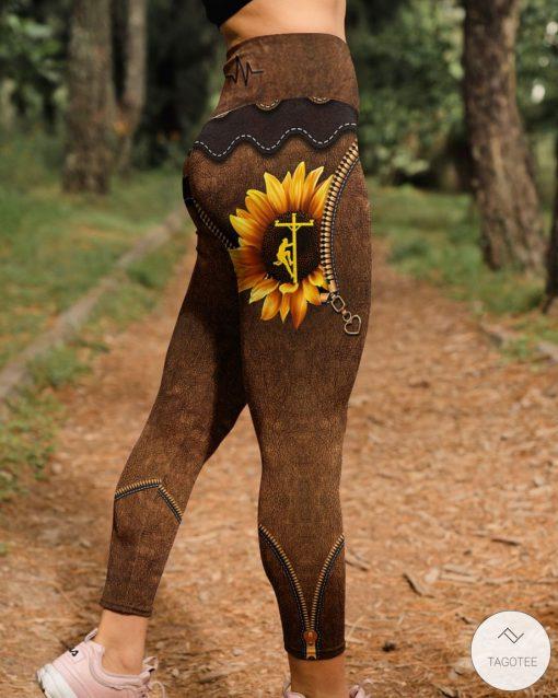 Lineman Sunflower As Leather High Waist Leggingsx