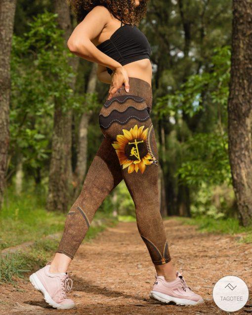Lineman Sunflower As Leather High Waist Leggingsz