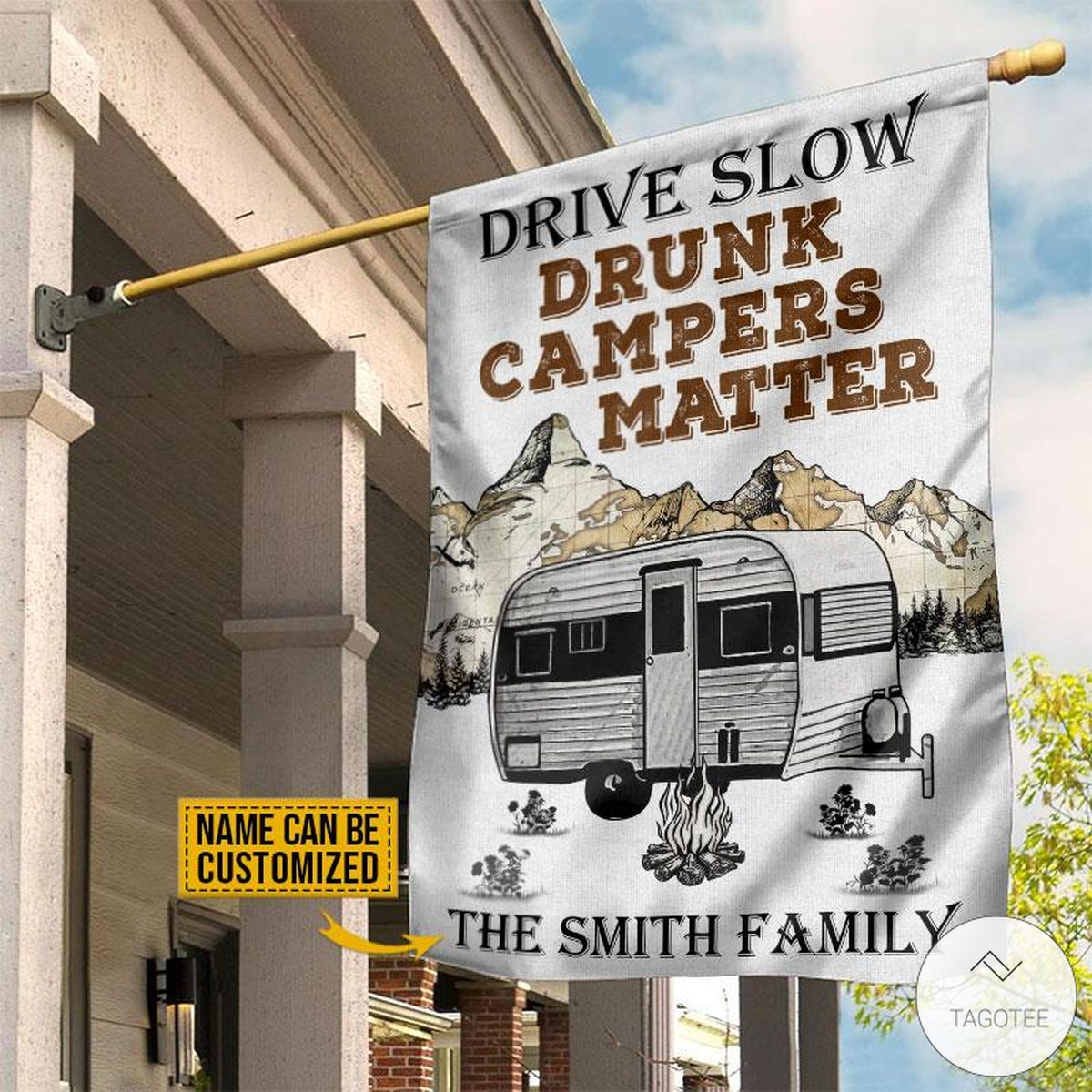 Personalized Camping Drive Slow Drunk Campers Matter Flagz