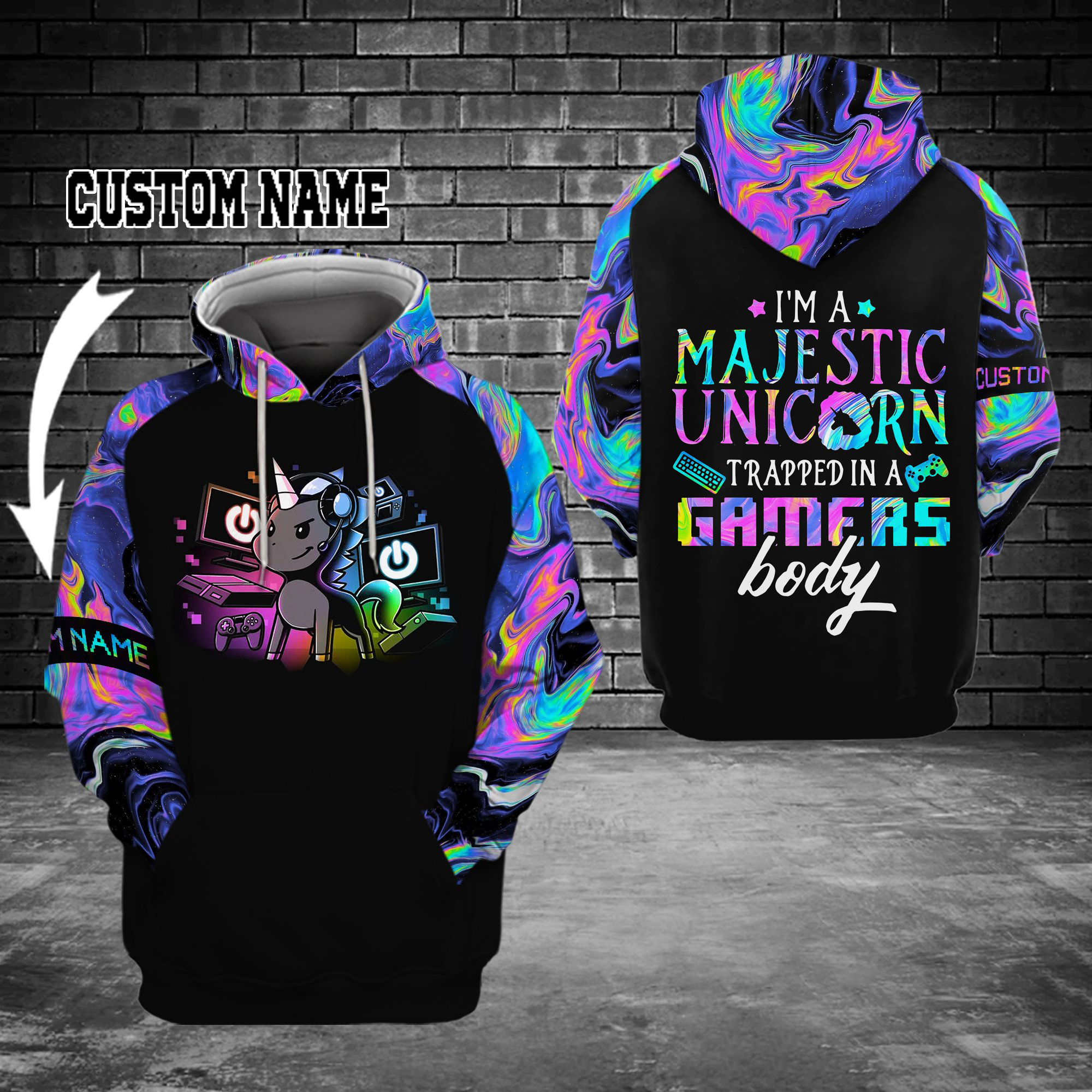 Personalized I'm a majestic unicorn trapped in a gamers body 3D Hoodie
