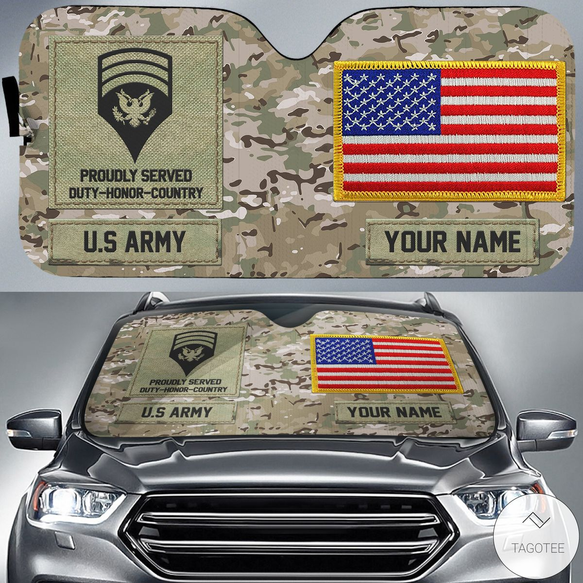Personalized US Army Military Camo Car Sun Shade