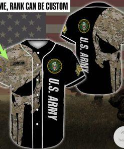 Personalized Us Army Skull Camo Baseball Jersey
