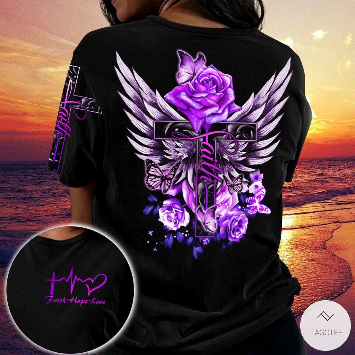 Purple Rose Faith Hope Love Jesus 3D All Over Print T-shirt, Hoodiez
