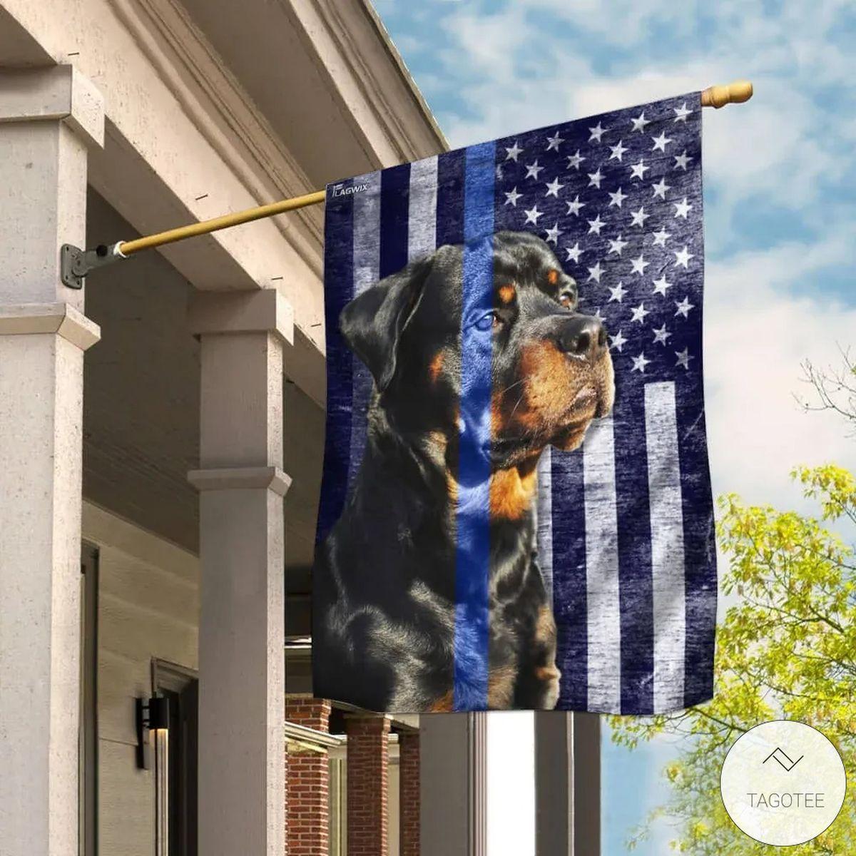 Rottweiler The Thin Blue Line Flag
