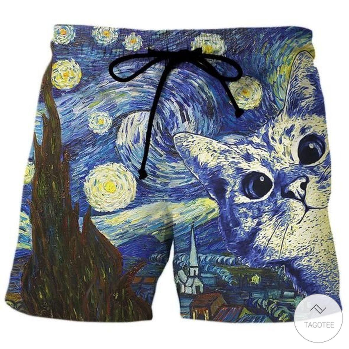 Starry night cat beach short