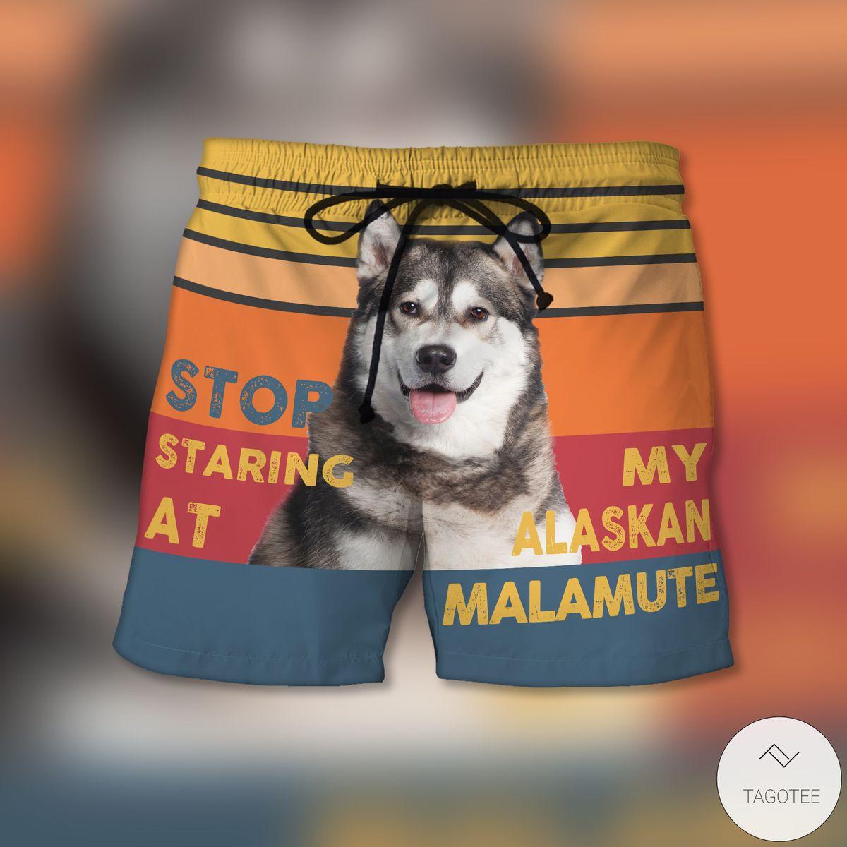 Stop Staring At My Alaskan Malamute Beach Shorts