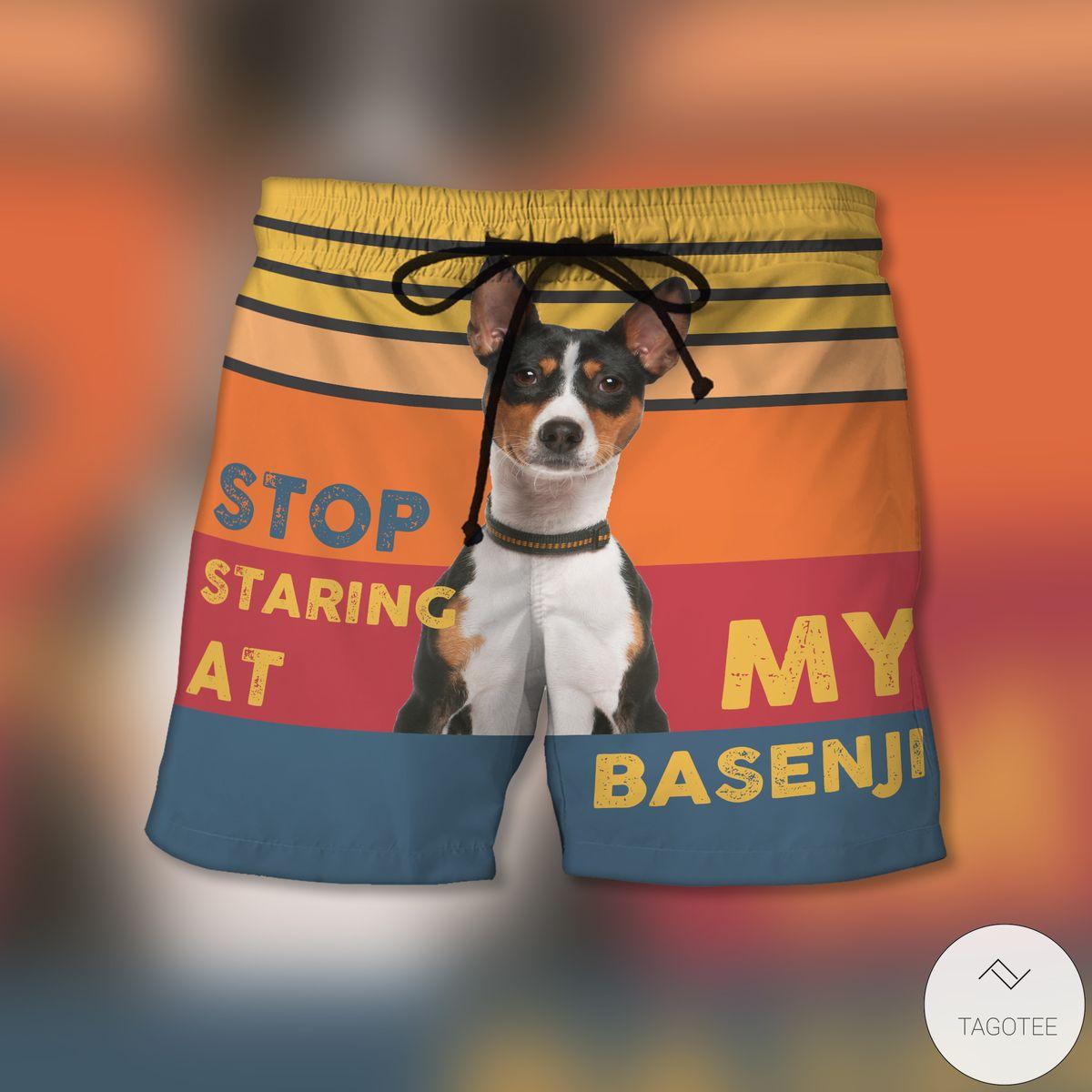 Stop Staring At My Basenji Beach Shorts