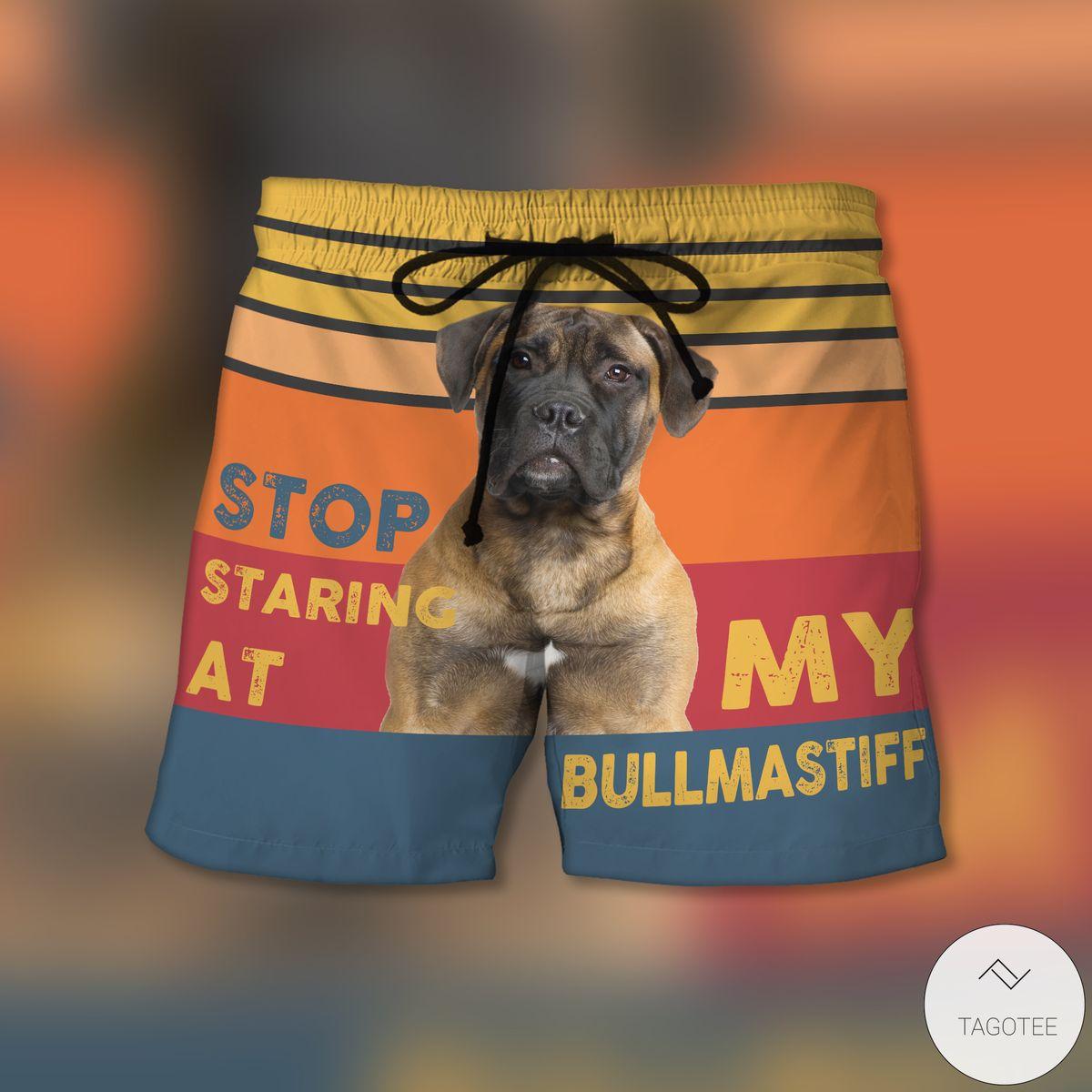 Stop Staring At My Bullmastiff Beach Shorts