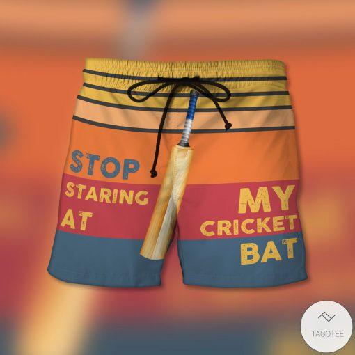 Stop Staring At My Cricket Bat Beach Shorts