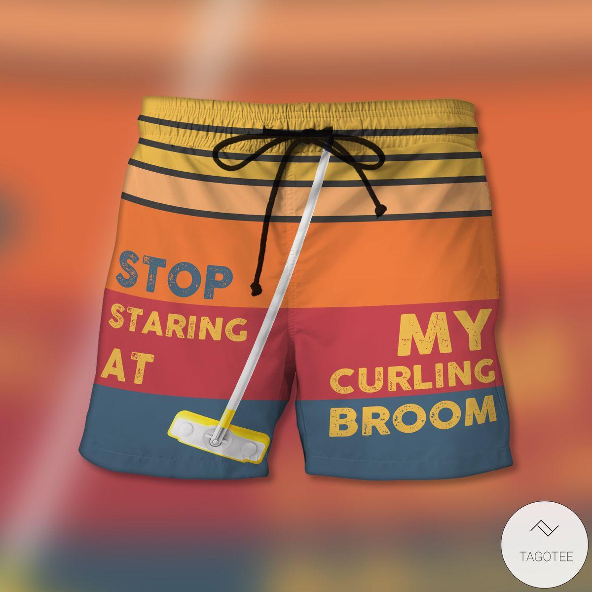 Stop Staring At My Curling Broom Beach Shorts