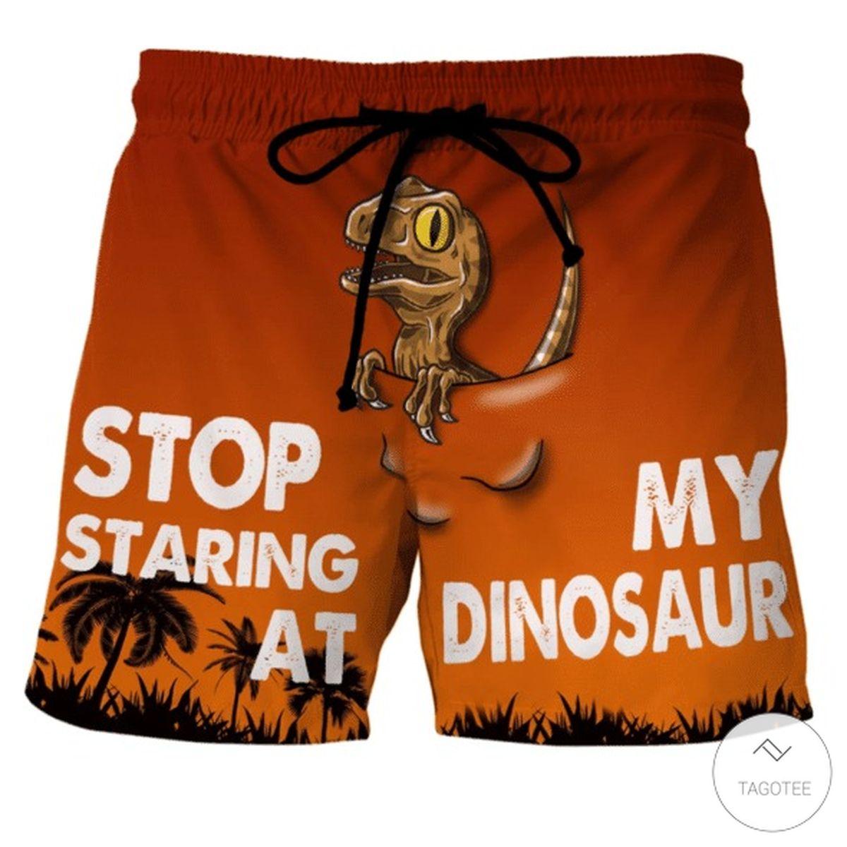 Stop Staring At My Dinosaur Beach Short