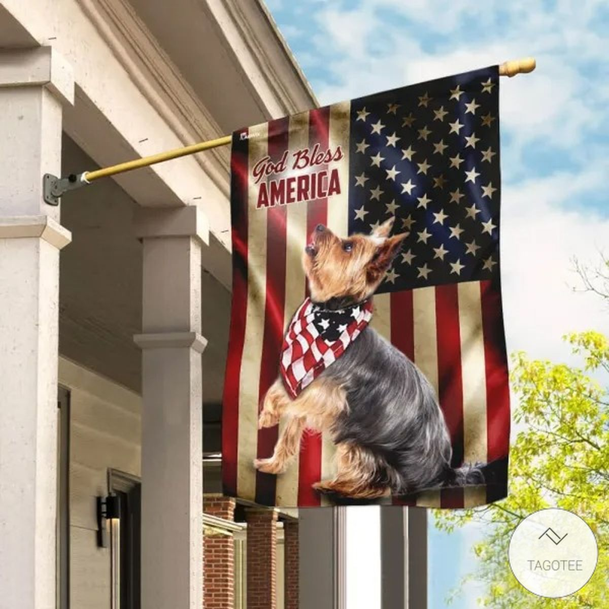 Yorkshire Terrier God Bless America FLag