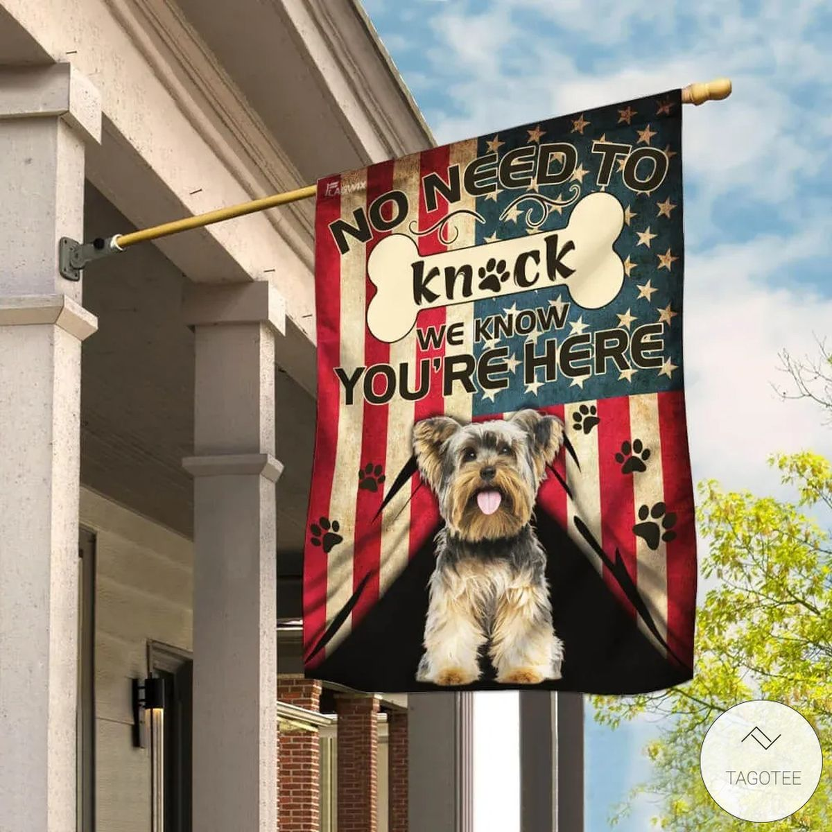 Yorkshire Terrier No Need To Knock We Know You Are Here Flag