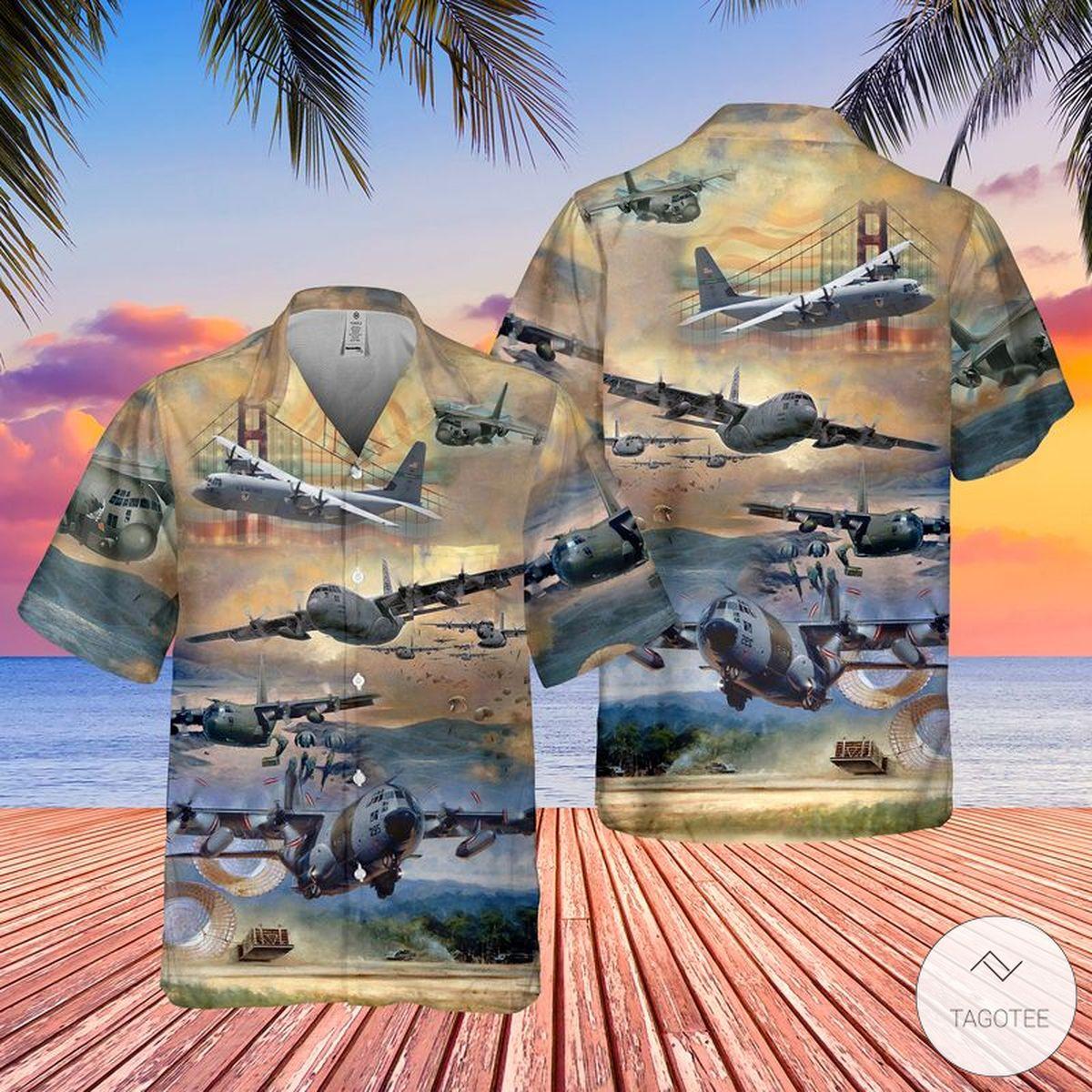 Air Force Lockheed C-130 Hercules Pocket Hawaiian Shirt, Beach Shorts