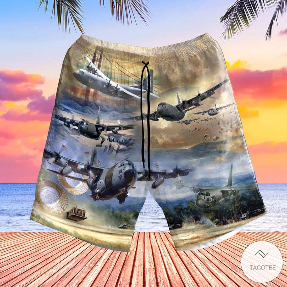 Air Force Lockheed C-130 Hercules Pocket Hawaiian Shirt, Beach Shortsz