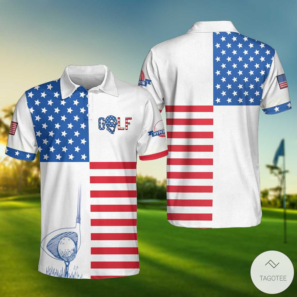American Flag Golf Polo Shirtx