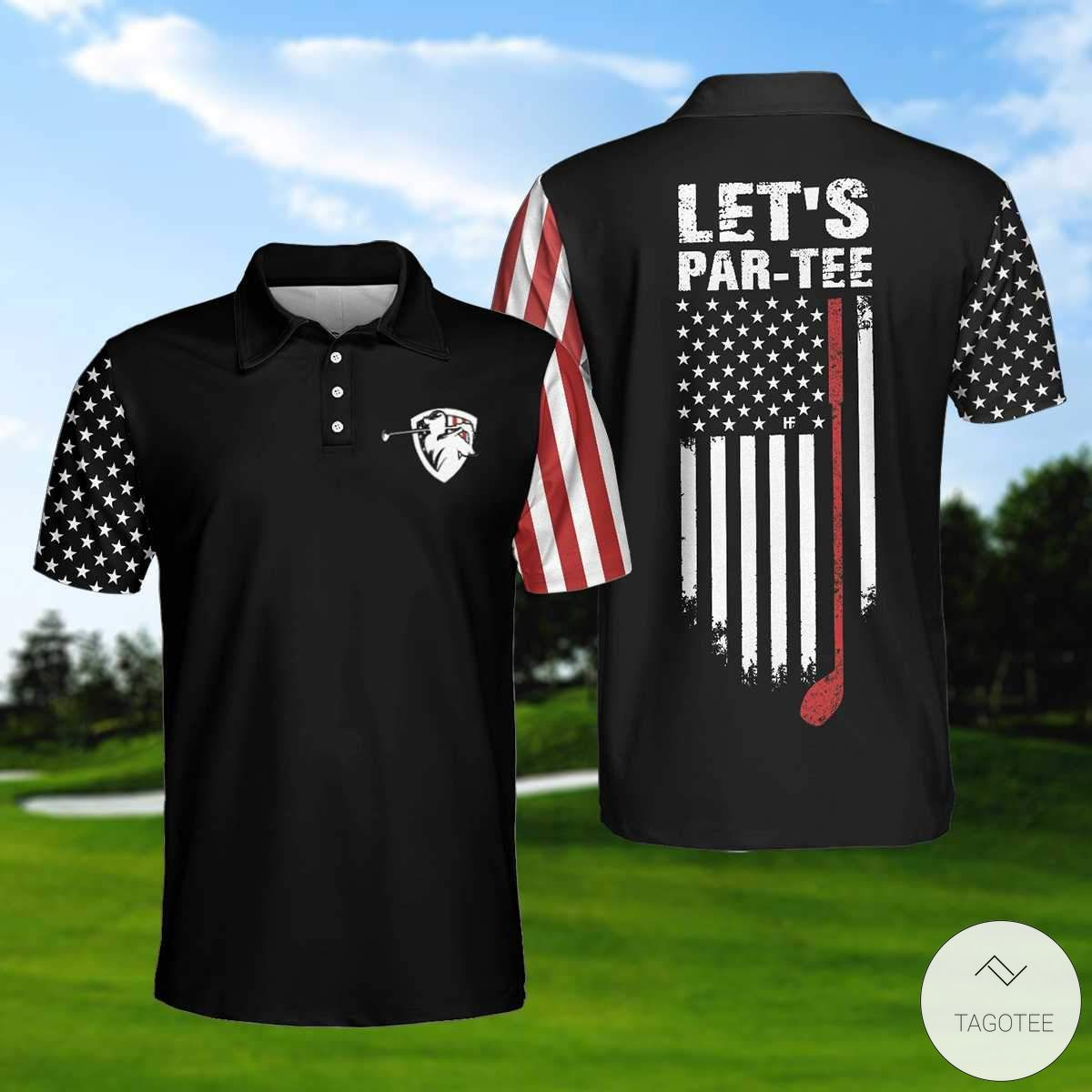 American Flag Let's Par Tee Golf Polo Shirtx