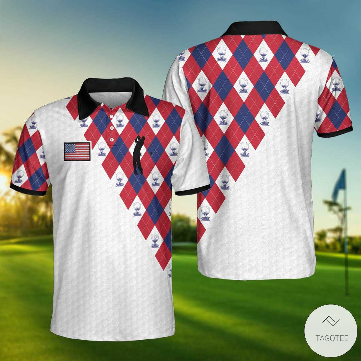 American Flag With Golf Argyle Pattern Polo Shirtx