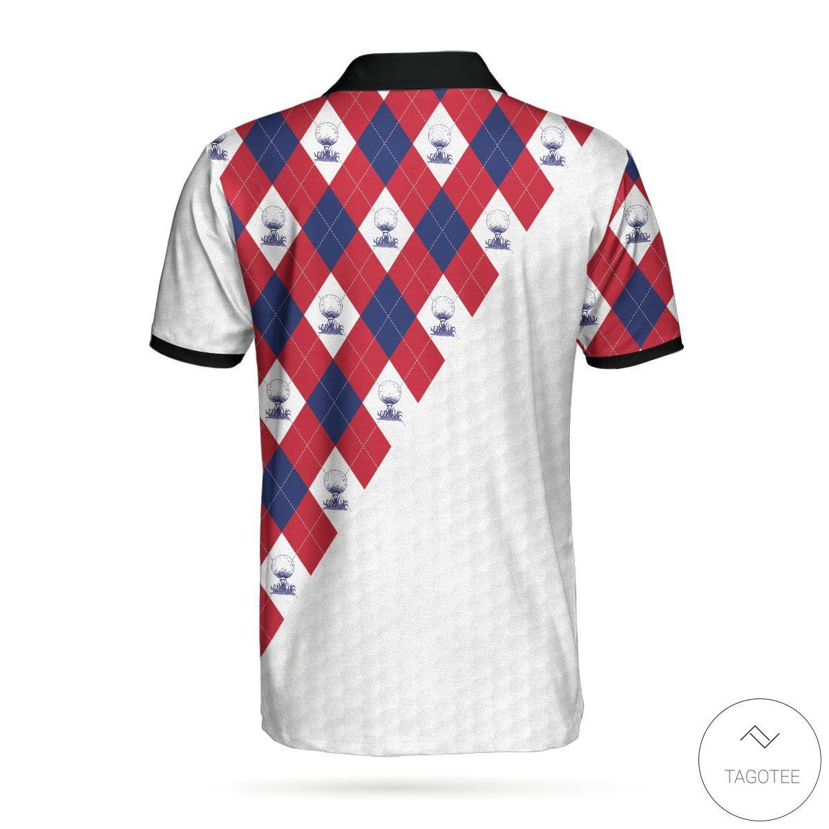 American Flag With Golf Argyle Pattern Polo Shirtz