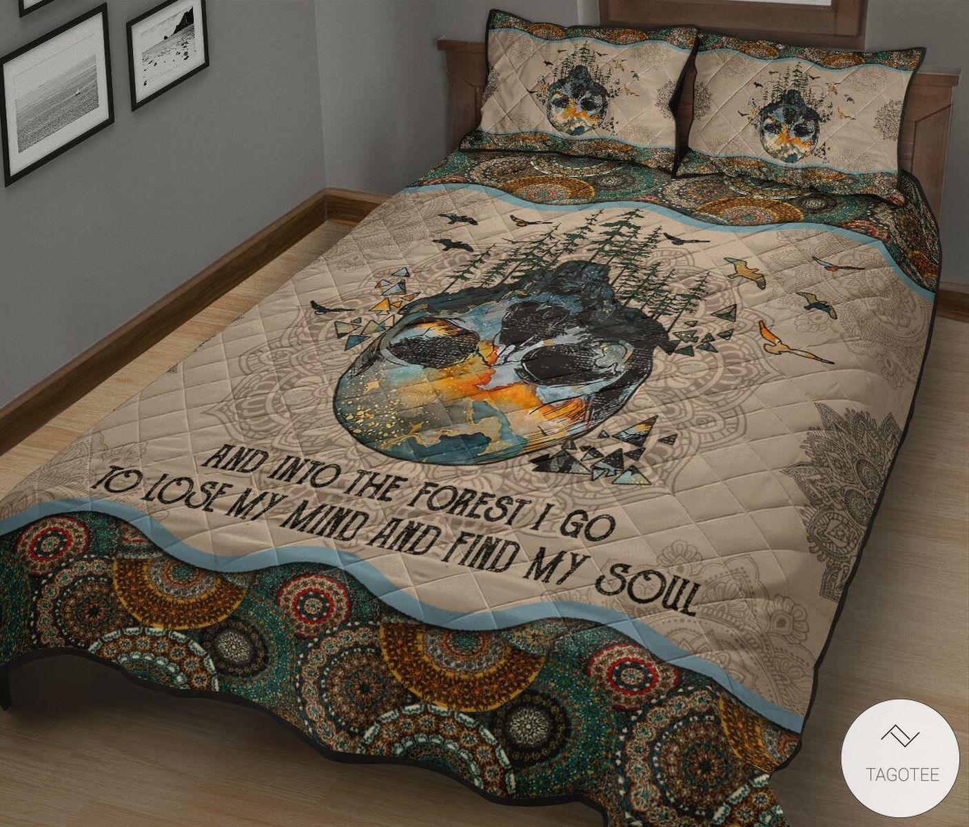 And Into The Forest I Go To Lose My Mind And Find My Soul Mandala Quilt Bedding Setz