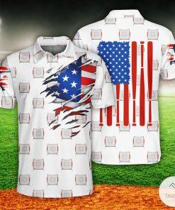 Baseball US Flag Polo Shirt