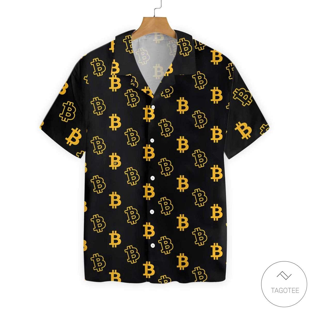Bitcoin Pattern Button Hawaiian Shirt