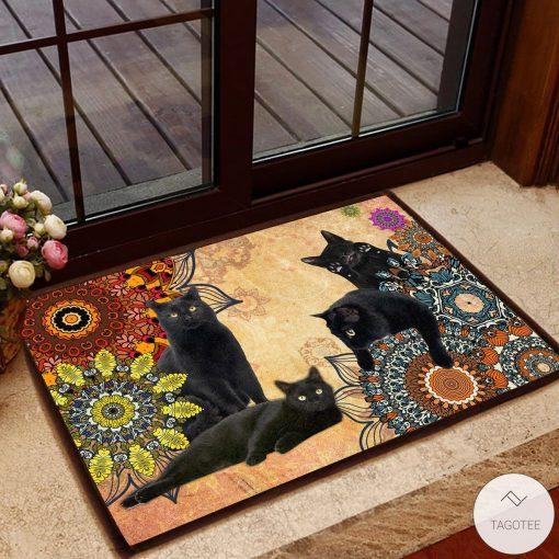 Black Cats Mandala Welcome Doormat