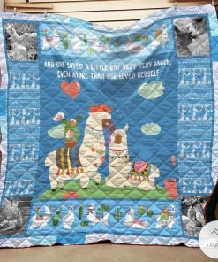 Blue Mama Llama And She Loved A Little Boy Very Very Much Quilt