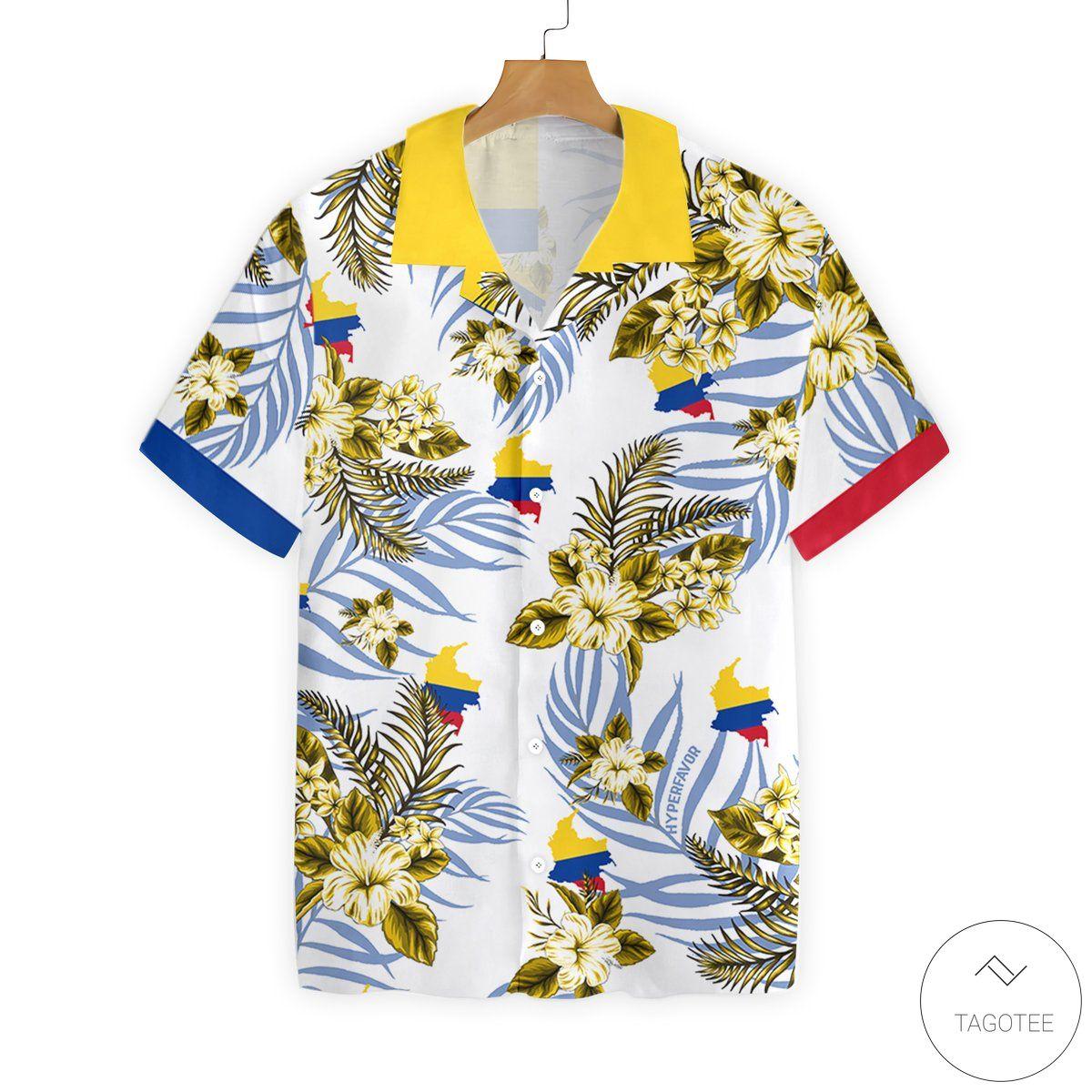 Colombia Proud Button Hawaiian Shirt