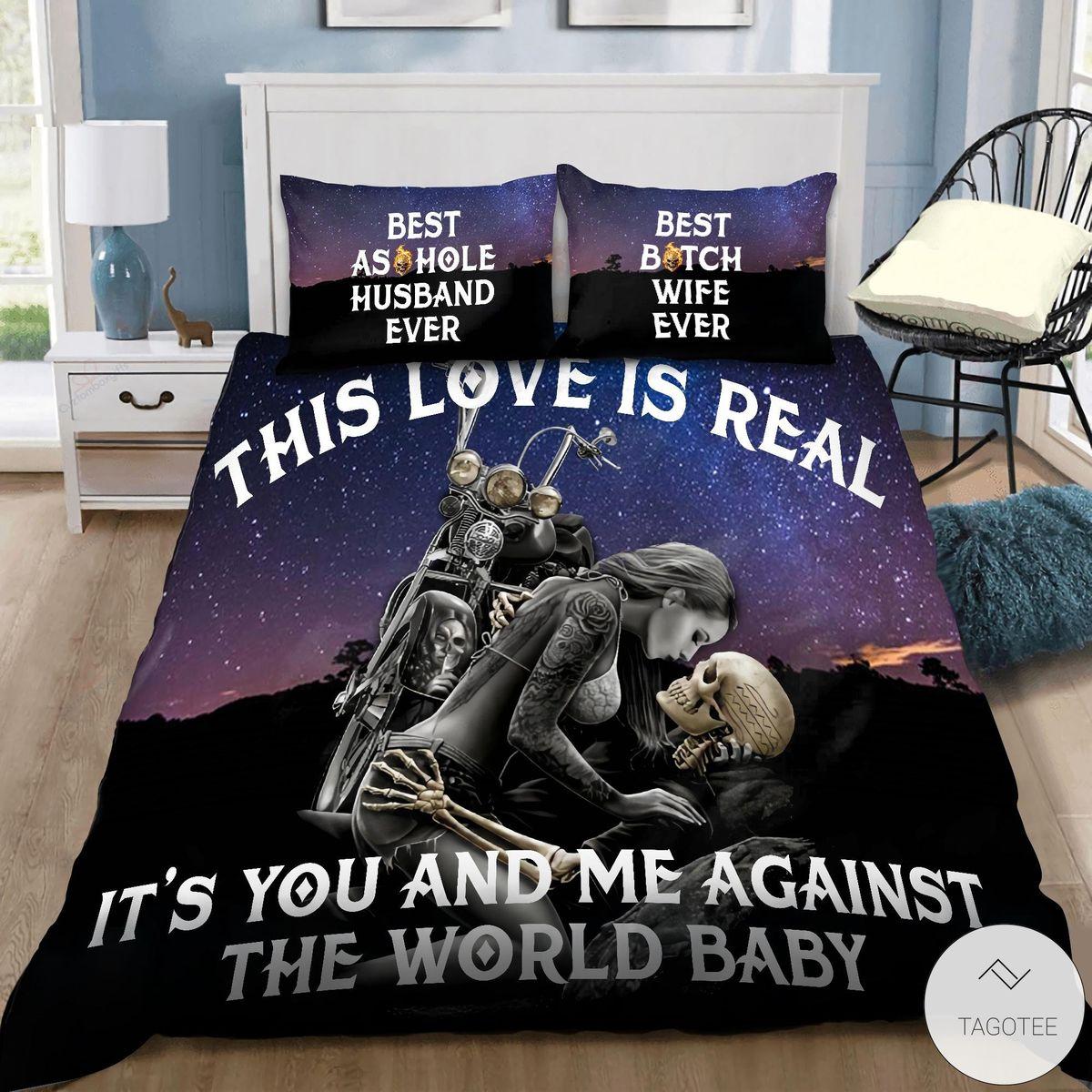Couple Skulls This Love Is Real Biker Bedding Set