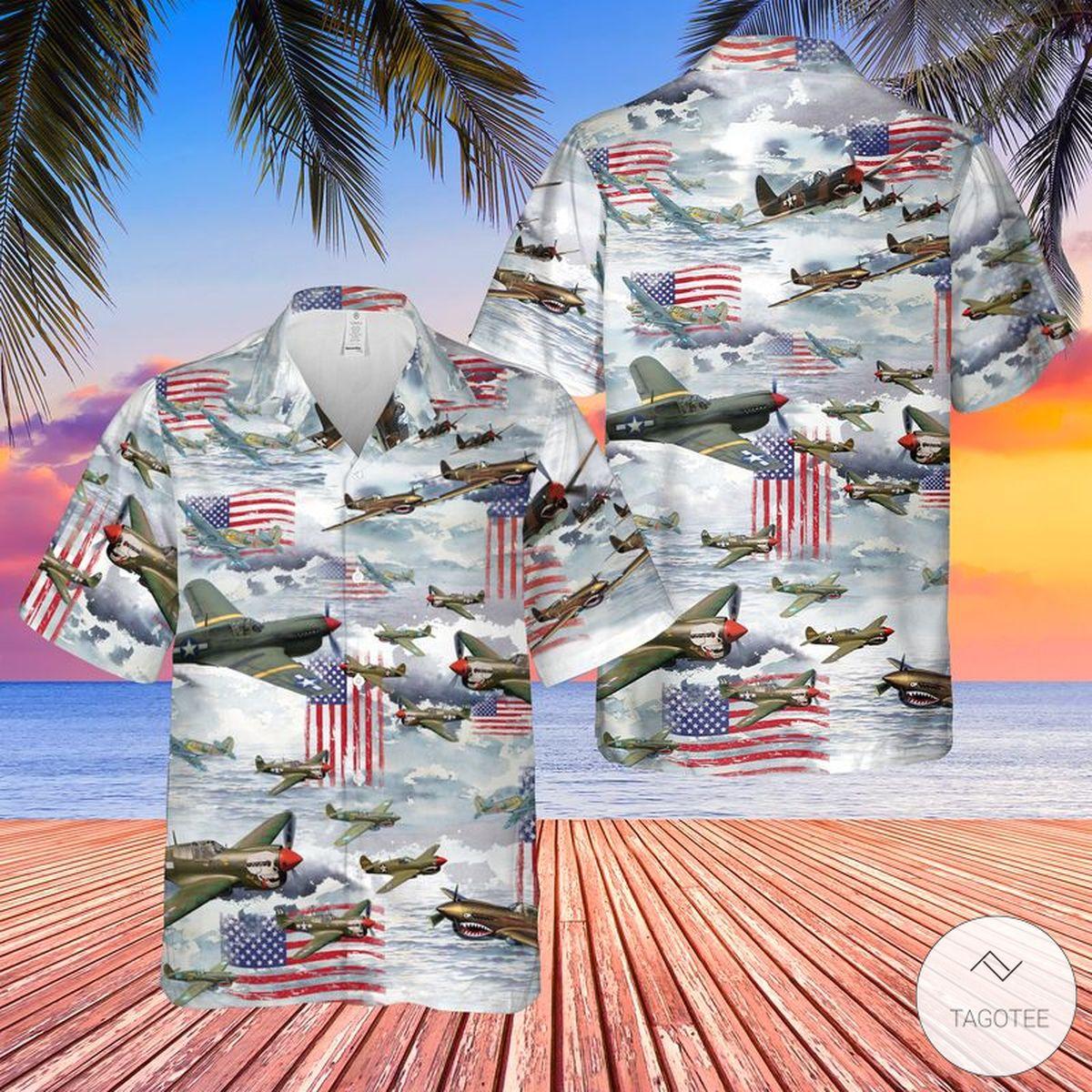 Curtiss P-40 Warhawk Hawaiian Shirt, Beach Shorts