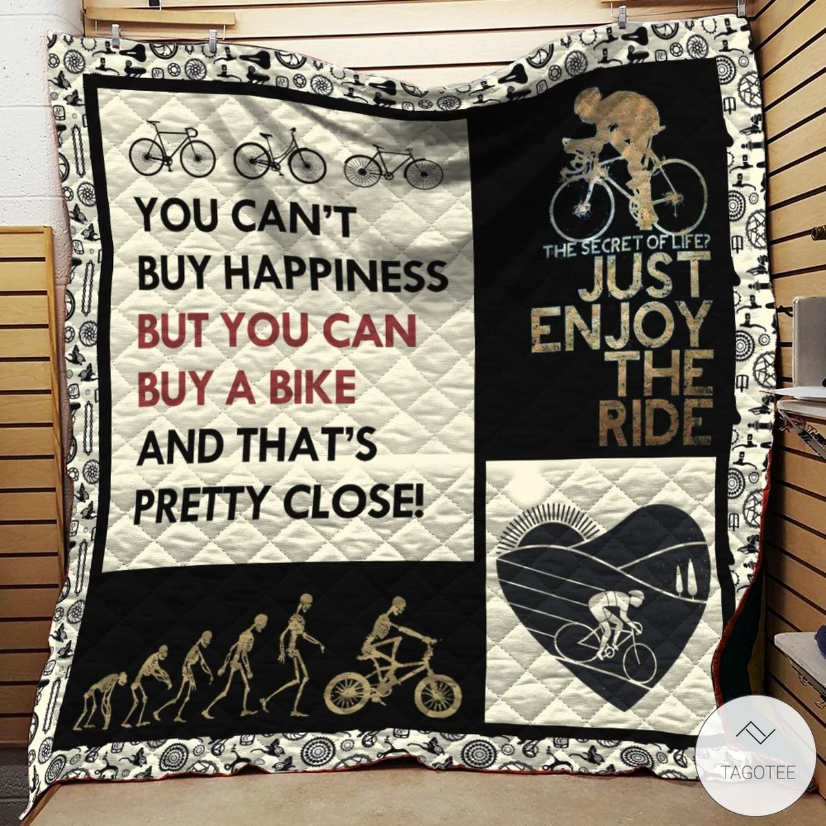 Cycling Life The Secret Of Life Just Enjoy The Ride Quilt