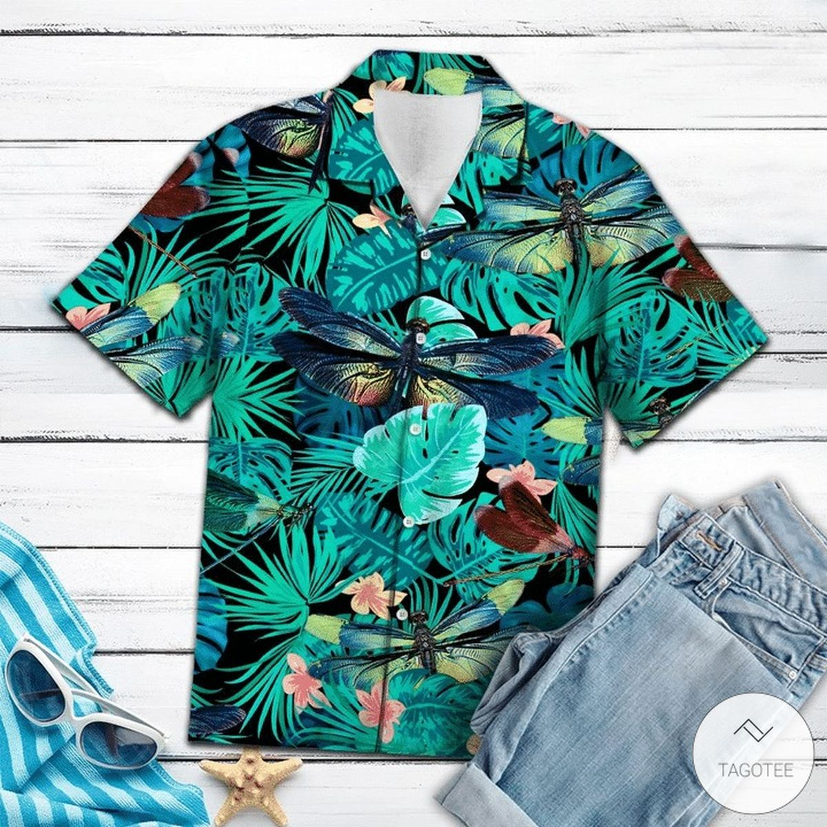 Dragonfly Tropical Hawaiian Shirt.