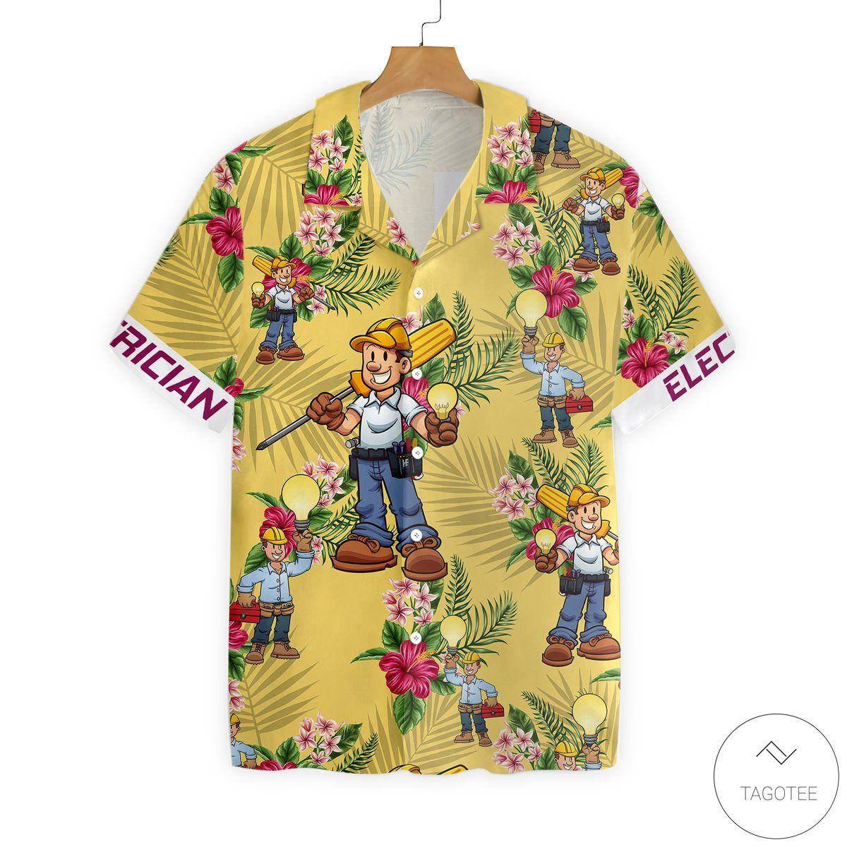 Electrician Button Hawaiian Shirt