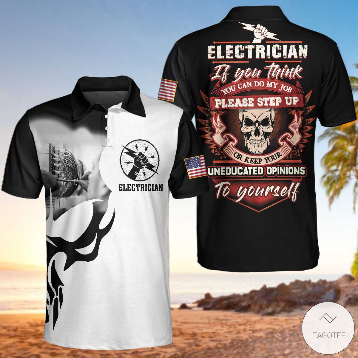 Electrician Proud Skull If You Think You Can Do My Job Please Step Up Polo Shirtx