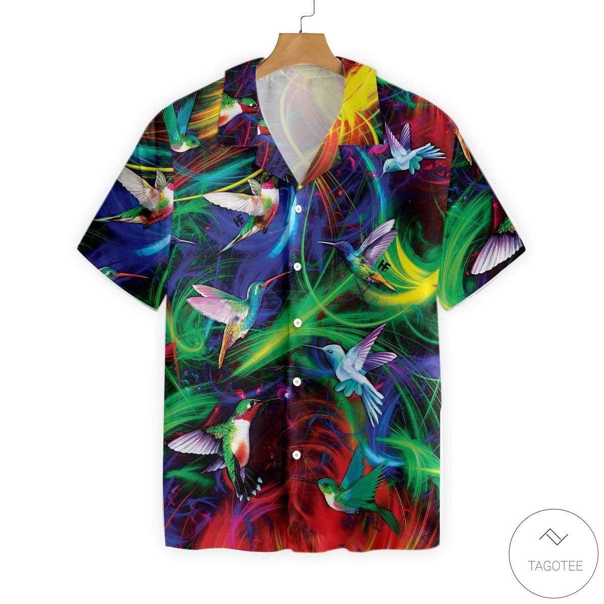 Fantasy Hummingbird Colorful Button Hawaiian Shirt