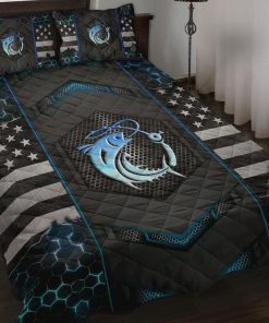 Fishing Back The Blue Police Quilt Bedding Set