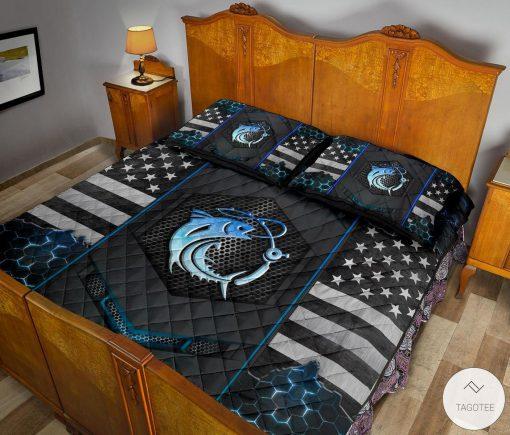 Fishing Back The Blue Police Quilt Bedding Setc