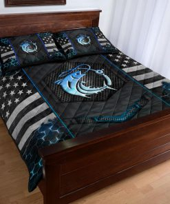 Fishing Back The Blue Police Quilt Bedding Setx