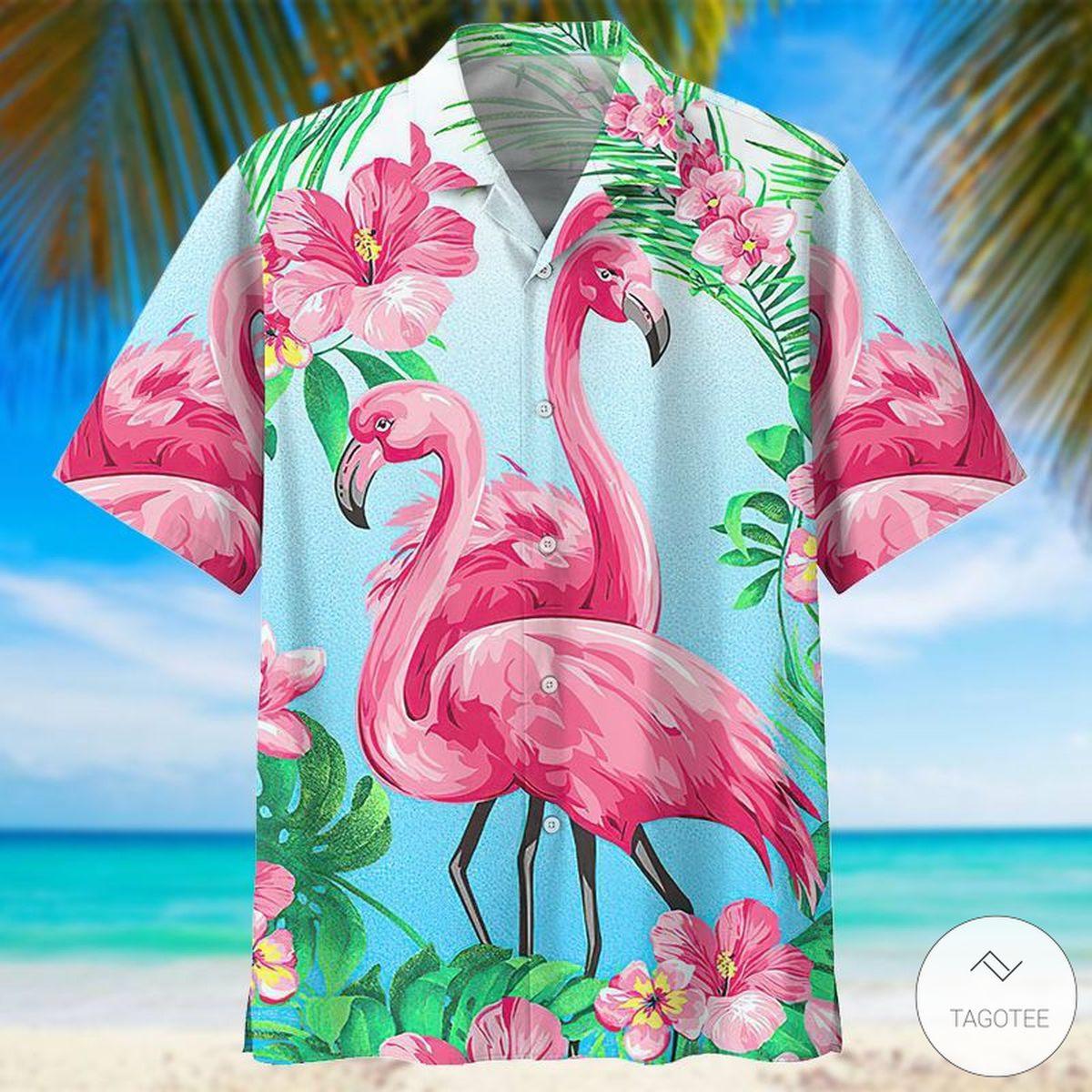 Flamingo Hawaiian Shirt, Beach Short
