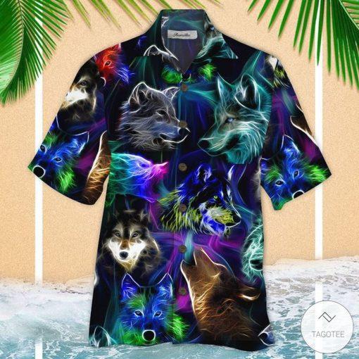 Glowing Wolf Hawaiian Shirt
