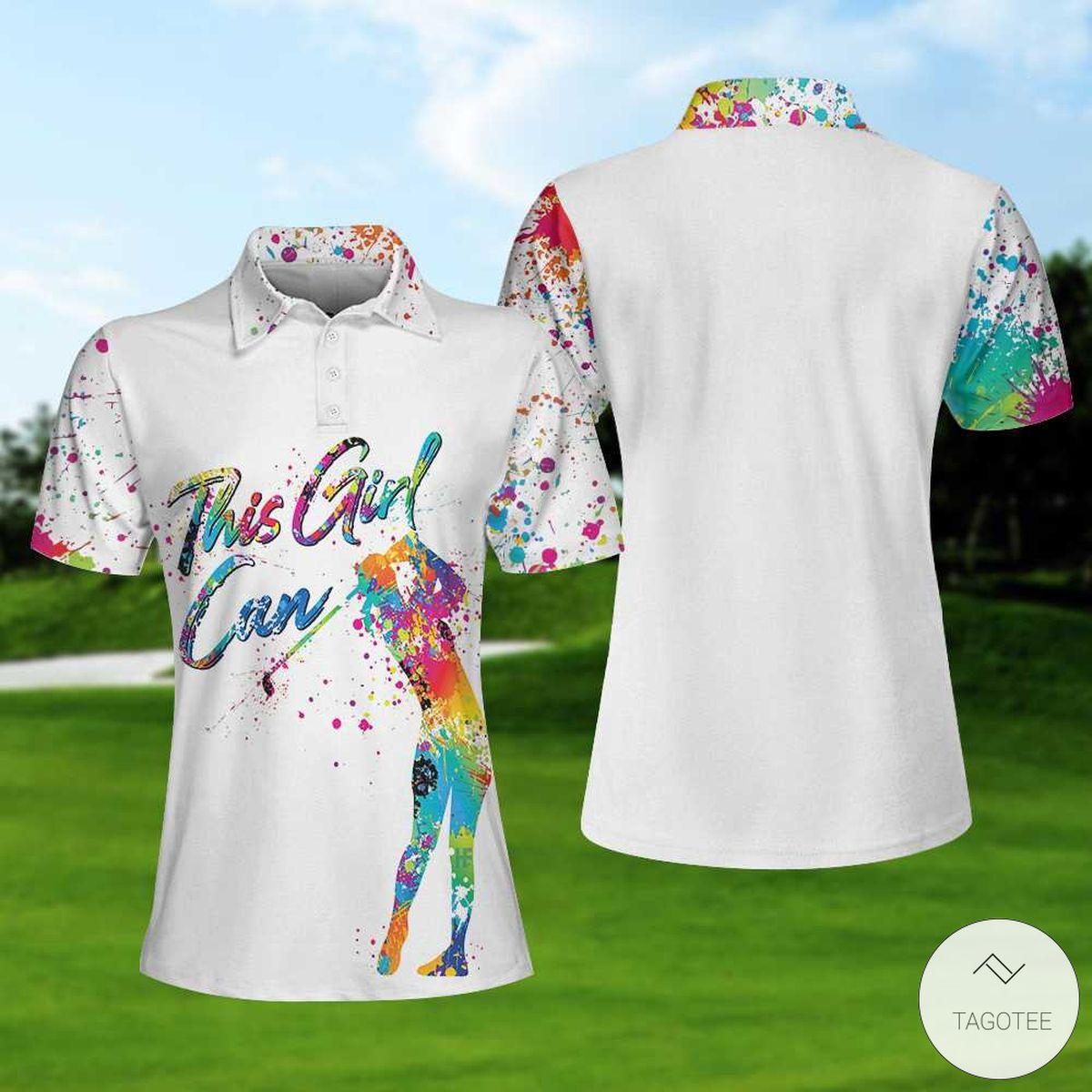 Golf Watercolor This Girl Can Polo Shirtx