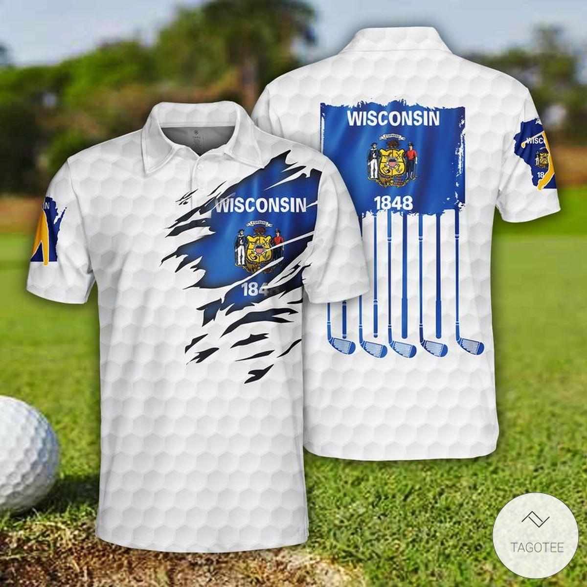 Golf Wisconsin 1848 Flag Polo Shirt